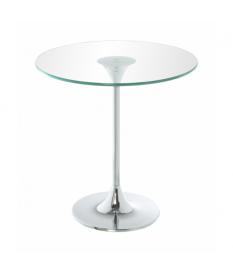 Mesa auxiliar acero cromado c/cristal transparente