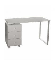 Mesa escritorio con 3 cajones madera y acero blanco brillo