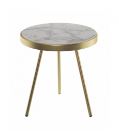 Mesa auxiliar metal oro mate de madera con papel mármol simulado