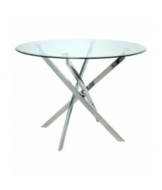 Mesa de comedor con encimeda de cristal y patas metal cromado