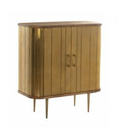 Mueble recibidor en madera mango acabado natural y dorado con patas metal