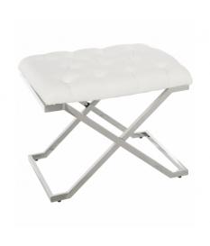 Banqueta metal cromado con asiento en polipiel color blanco