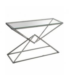 Consola recibidor de metal cromado con forma piramidal y encimera de cristal