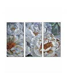 Set 3 lienzos flores 100% pintado mano 80x3x160 cm