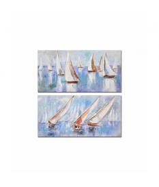 Set 2 lienzos barcos 100% pintado mano 120x3x60 cm