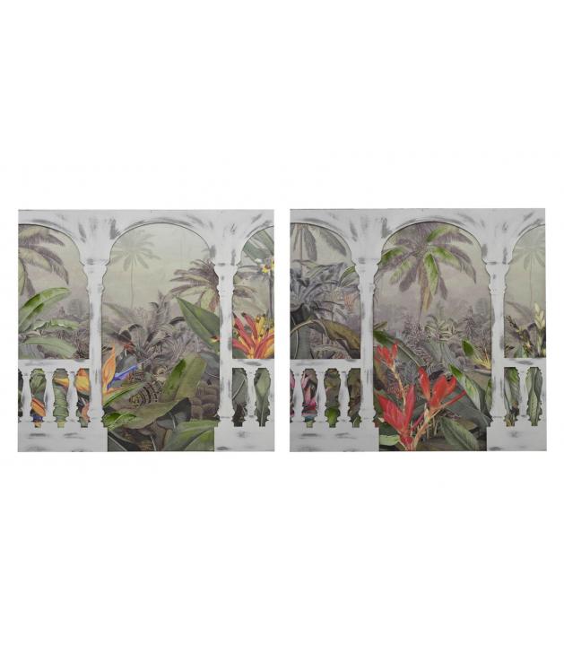 Set 2 lienzos madera jardín 40% pint man.100x3x100