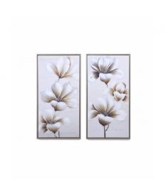 Set 2 lienzos flores 40% h.p. con marco 43x3x83 cm