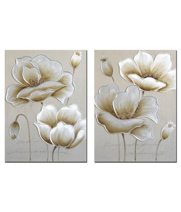Set 2 lienzos flores 40 % h.p. 50x3x70 cm