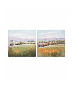Set 2 lienzos paisaje 100% pintado mano 60x3x60 cm