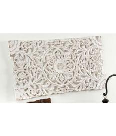 Cuadro panel madera tallado color blanco