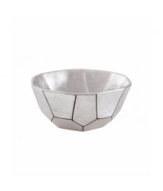 Centro cerámica lacada plata metal. 21x21x9 cm