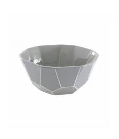 Centro cerámica lacada gris/blanco 21x21x9 cm