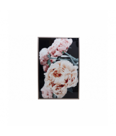Cuadro cristal rosas con marco 80x4x120 cm