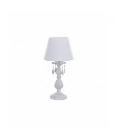 Lámpara sobremesa metal blanco café 25x25x49 cm