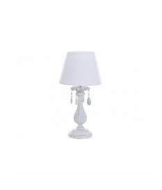Lámpara sobremesa metal blanco mate café 25x25x49