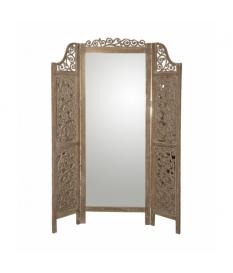 Biombo madera 3 paneles c/espejo