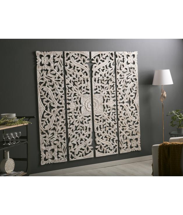 Panel madera tallado blanco/oro