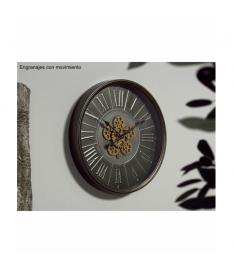 Reloj mecanismo pared plata envejecida