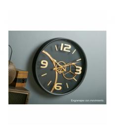 Reloj mecanismo pared negro/oro