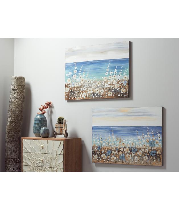 Óleo paisaje mar c/flores