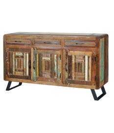 Aparador con 3 puertas y 3 cajones en madera reciclada multicolor