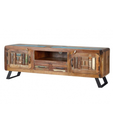 Mueble tv con 2 puertas y 2 cajones en madera reciclada multicolor