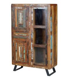 Vitrina con 3 puertas y 1 cajón en madera reciclada multicolor