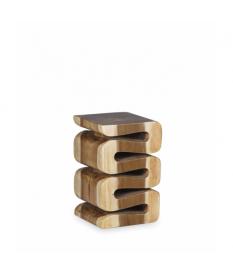 Taburete cuadrado tronco espiral