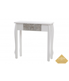 Consola madera blanca-plata tallada 80x30x80 cm