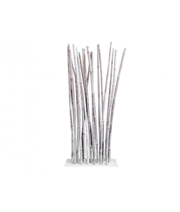 Separador ambientes cañas bambú curvadas decapadas con base metal