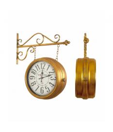 Reloj de pared estación metal dorado