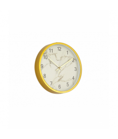 Reloj de pared dorado marmolado blanco