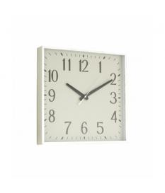 Reloj de pared cuadrado plateado/blanco pvc
