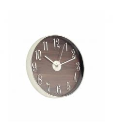 Reloj de pared cromado color madera