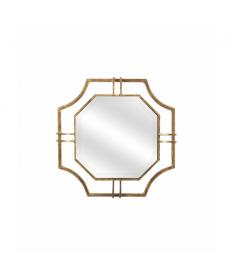 Espejo octogonal metal dorado