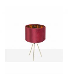 Lámpara de sobremesa trípode dorada pantalla granate