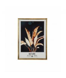 Cuadro lámina hojas marco dorado madera/vidrio