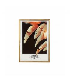 Cuadro lámina hojas marco dorado madera y vidrio
