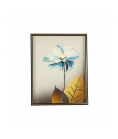 Cuadro con marco flor azul y dorada