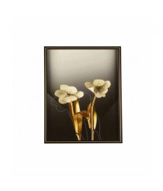 Cuadro con marco flores blancas y doradas