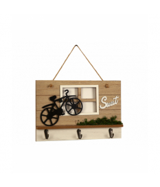 Portallaves madera ventana c/bici