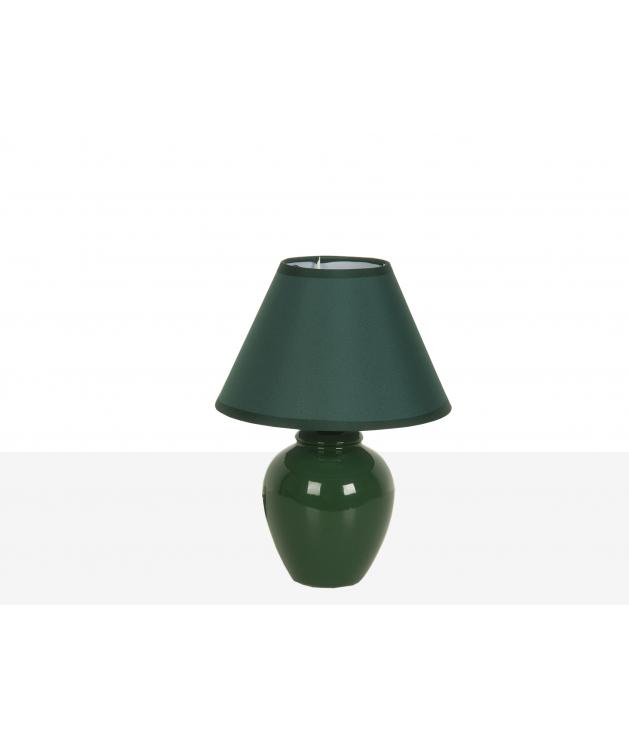 Lámpara de sobremesa cerámica verde c/pantalla