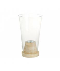 Jarrón de cristal madera