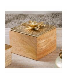 Caja madera t/alum. flor oro 15x15 cms.