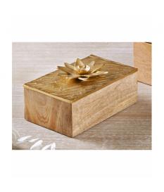 Caja madera t/alum. flor oro 21x14 cms.