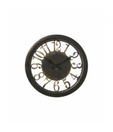 Reloj pared resina negro/dorado ›27,5x4 cm