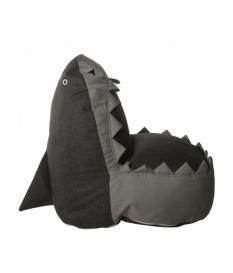 Puff blando tiburón gris poliéster