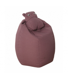 Puff blando hipopótamo rosa poliéster