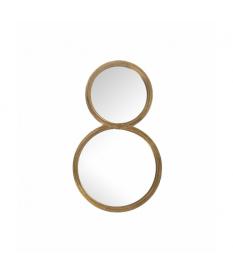 Espejo pared metal dorado 2 círculos 26x45 cm