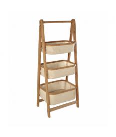 Mueble organizador bambú c/3 cestos tela